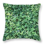 Green Clovers Throw Pillow