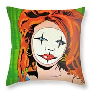 Green Clown Throw Pillow