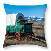 Green Covered Wagon Throw Pillow