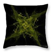 Green Crosshatch Scribble  Throw Pillow