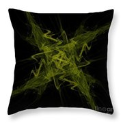 Green Crosshatch Scribble  Throw Pillow