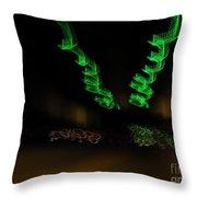 Green Curlicues Throw Pillow