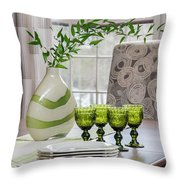 Green Decor Dinning Table Place Settings Throw Pillow
