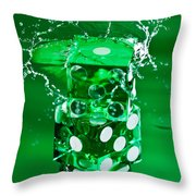Green Dice Splash Throw Pillow