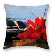 Green Dingy And Bouys Throw Pillow