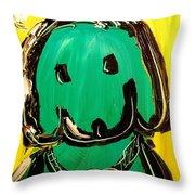 Green Dog Throw Pillow