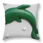 Green Dolphin Throw Pillow