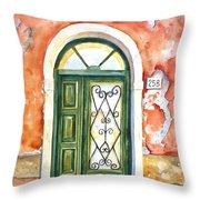 Green Door In Venice Italy Throw Pillow