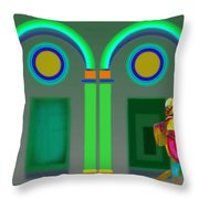 Green Doors Throw Pillow