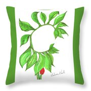 Green Dragon With Fruit Cluster Throw Pillow