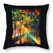 Green Dreams Throw Pillow by Leonid Afremov
