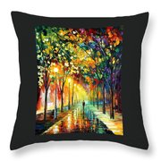 Green Dreams - Palette Knife Oil Painting On Canvas By Leonid Afremov Throw Pillow