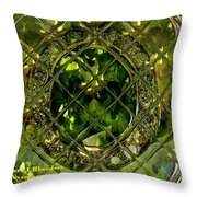 Green Emerald And White Diamond Brooch Distortion Aa H A Throw Pillow