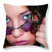 Green Eye'd Girl Throw Pillow