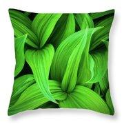 Green False Hellebore Throw Pillow