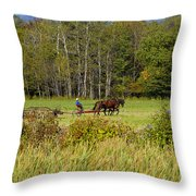 Green Farming Throw Pillow