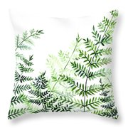 Green Fern Leaves Throw Pillow