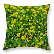 Green Field Of Yellow Flowers 1 Throw Pillow