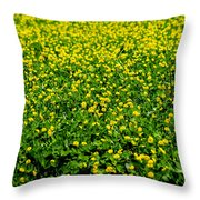 Green Field Of Yellow Flowers Throw Pillow