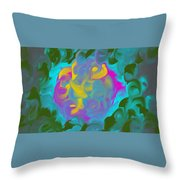 Green Fire Throw Pillow