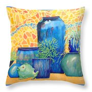 Green Fish And Friends Throw Pillow