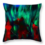 Green Flames In The Night Throw Pillow