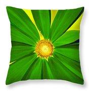Green Flower Throw Pillow