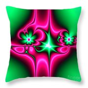 Green Flowers On Pink Ribbons Fractal 64 Throw Pillow