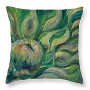 Green Flowing Flower Throw Pillow