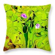 Green Fluidity Throw Pillow