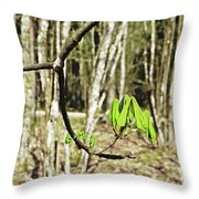 Green Foliage Forest Throw Pillow