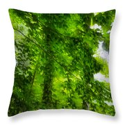 Green Forest Trees 1 Throw Pillow