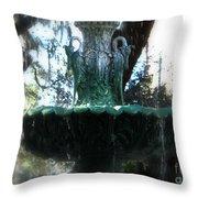 Green Fountain Throw Pillow