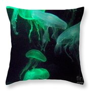Green Freakiness Throw Pillow