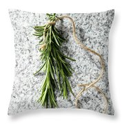 Green Fresh Rosemary On Granite Background Throw Pillow