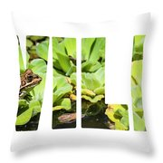 Green Frog In A Wetland Throw Pillow