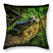 Green Frog On A Brown Log Throw Pillow