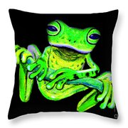 Green Frog On A Vine Throw Pillow