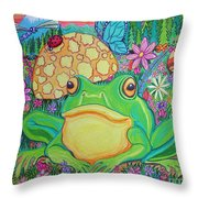 Green Frog With Flowers And Mushrooms Throw Pillow