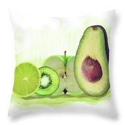Green Fruits Watercolor Throw Pillow