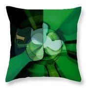 Green Glass Wheels Throw Pillow