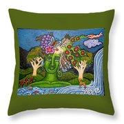 Green Goddesswith Waterfall2 Throw Pillow
