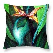 Green Golden Exotic Orchid Flower Throw Pillow