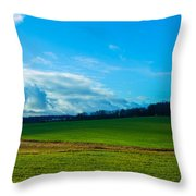 Green Grass And Blue Sky With White Clouds Throw Pillow