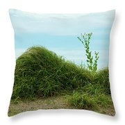 Green Grass Mountain Throw Pillow
