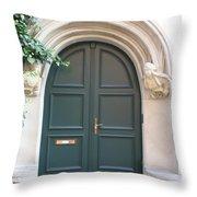 Green Guarded Door Throw Pillow