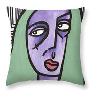 Green Hair Throw Pillow