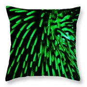 Green Hairy Blob Throw Pillow
