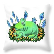 Green Happy Frog Throw Pillow