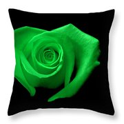 Green Heart-shaped Rose Throw Pillow by Glennis Siverson